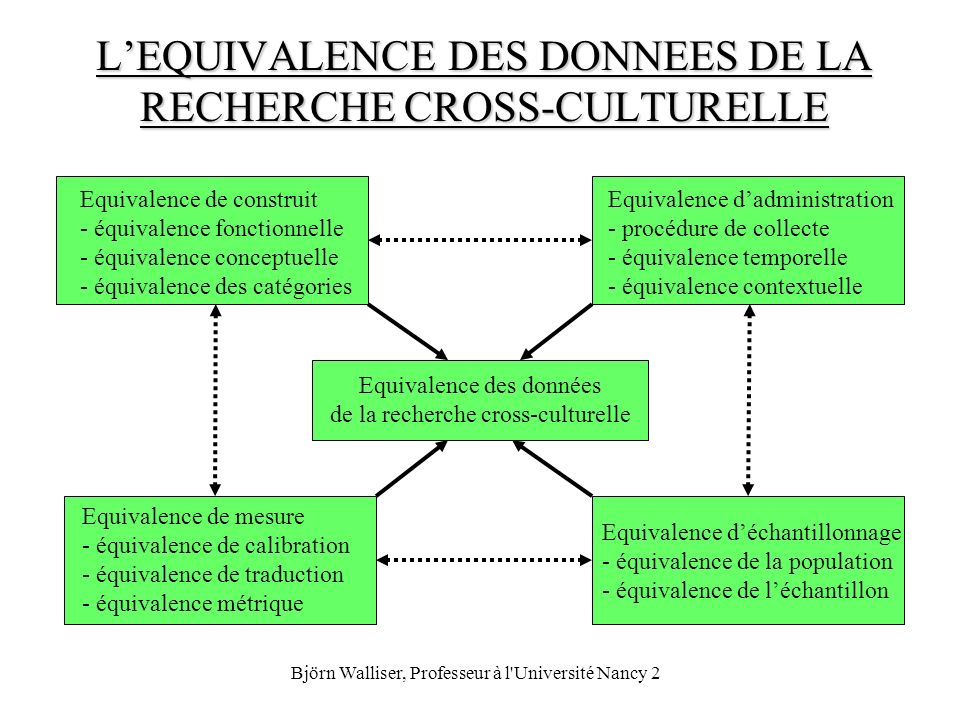 L'EQUIVALENCE DES DONNEES DE LA RECHERCHE CROSS-CULTURELLE
