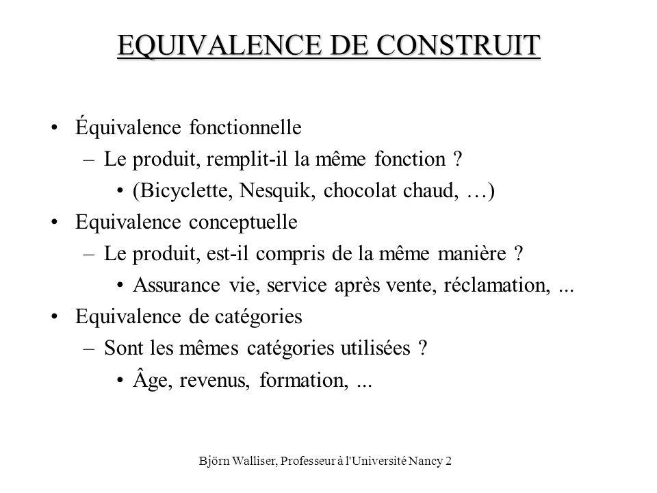 EQUIVALENCE DE CONSTRUIT