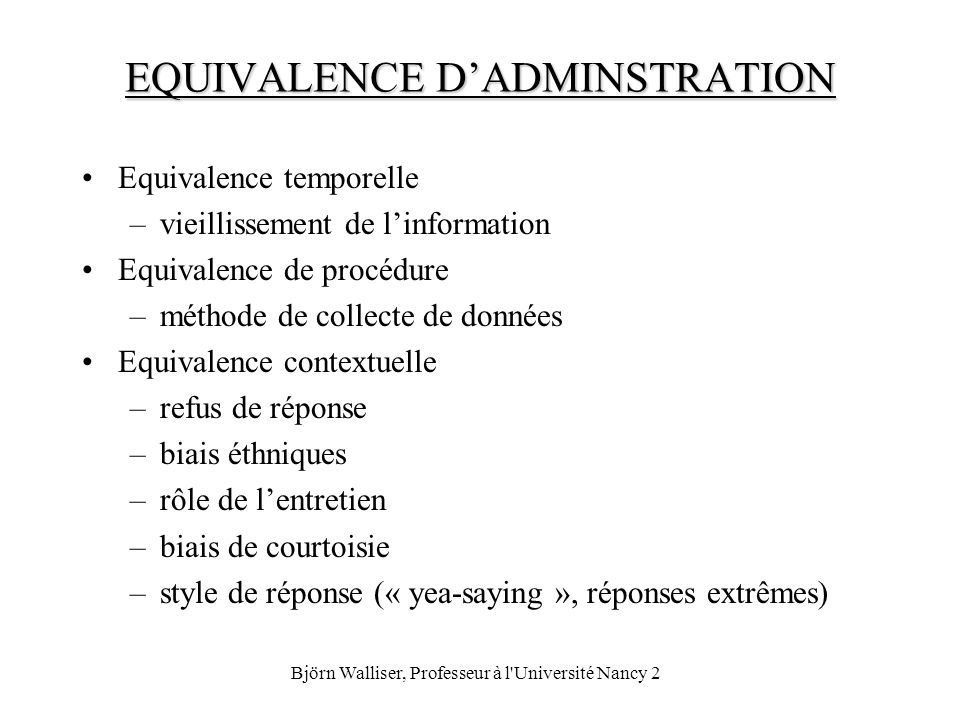EQUIVALENCE D'ADMINSTRATION