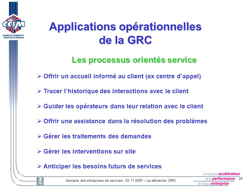 Applications opérationnelles de la GRC