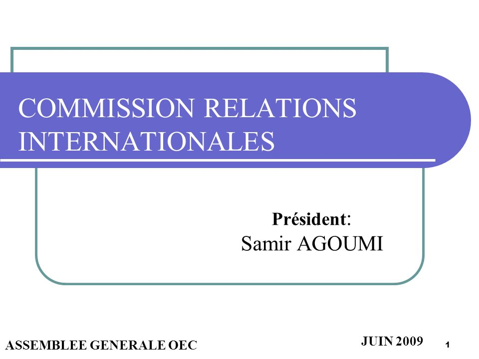 COMMISSION RELATIONS INTERNATIONALES