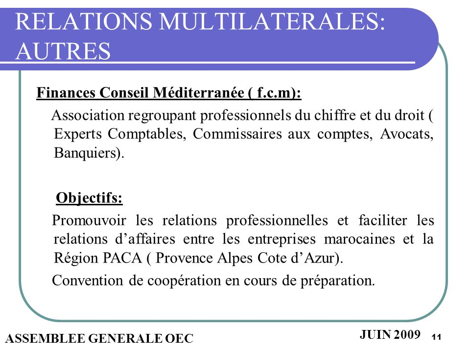 RELATIONS MULTILATERALES: AUTRES