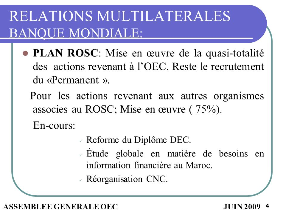 RELATIONS MULTILATERALES BANQUE MONDIALE: