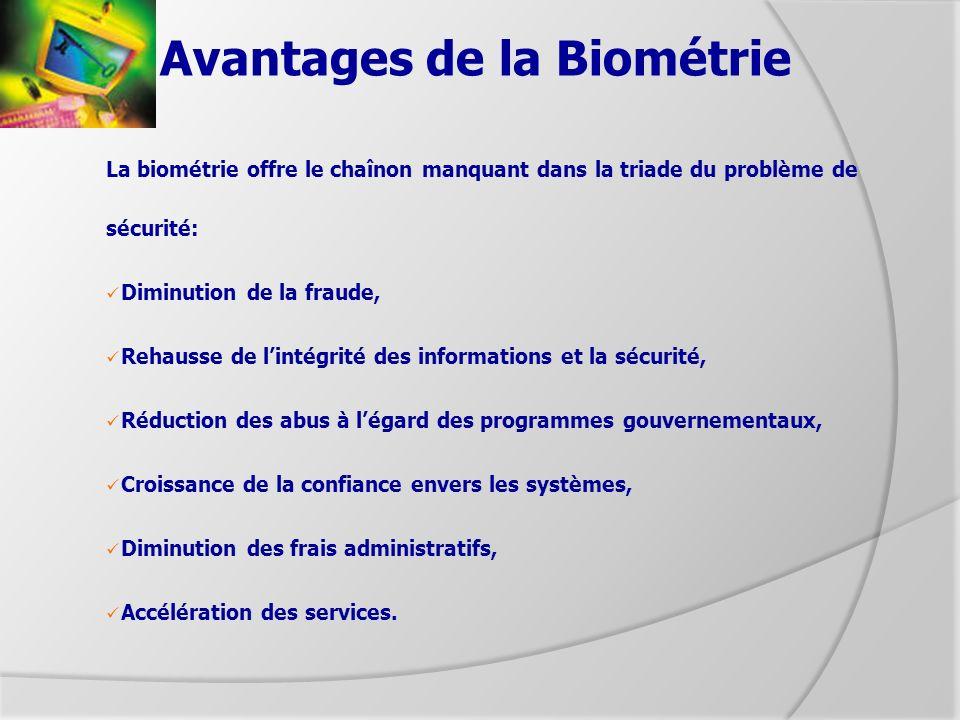 Avantages de la Biométrie