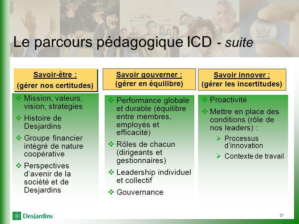 Le parcours pédagogique ICD - suite