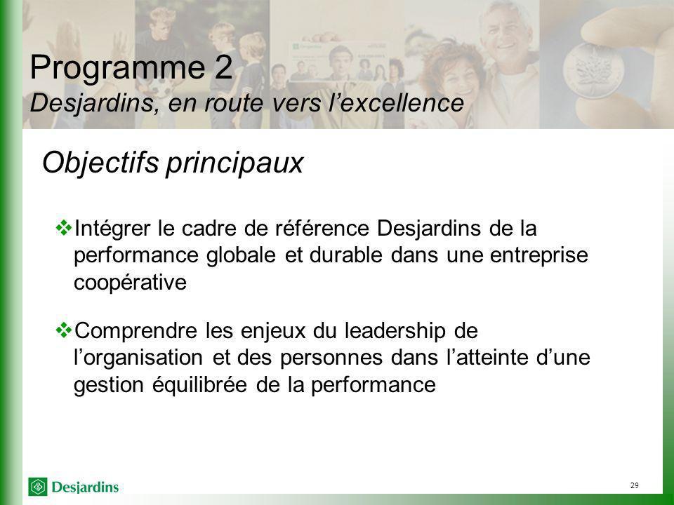 Programme 2 Desjardins, en route vers l'excellence
