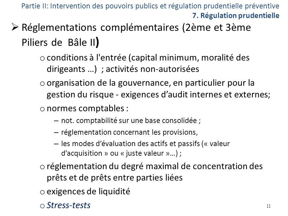 Réglementations complémentaires (2ème et 3ème Piliers de Bâle II)