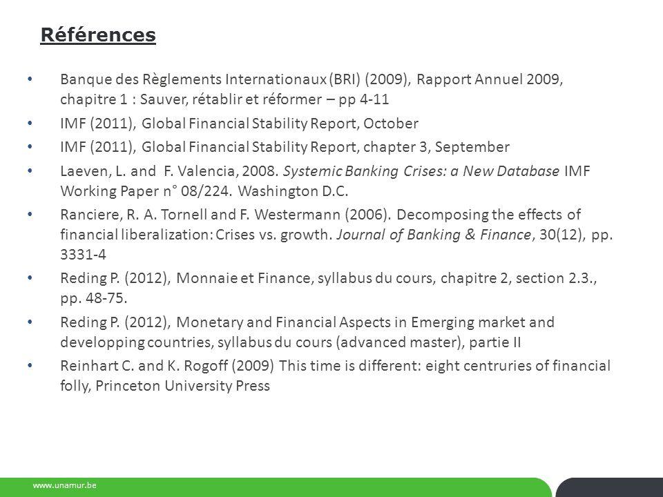 Références Banque des Règlements Internationaux (BRI) (2009), Rapport Annuel 2009, chapitre 1 : Sauver, rétablir et réformer – pp 4-11.