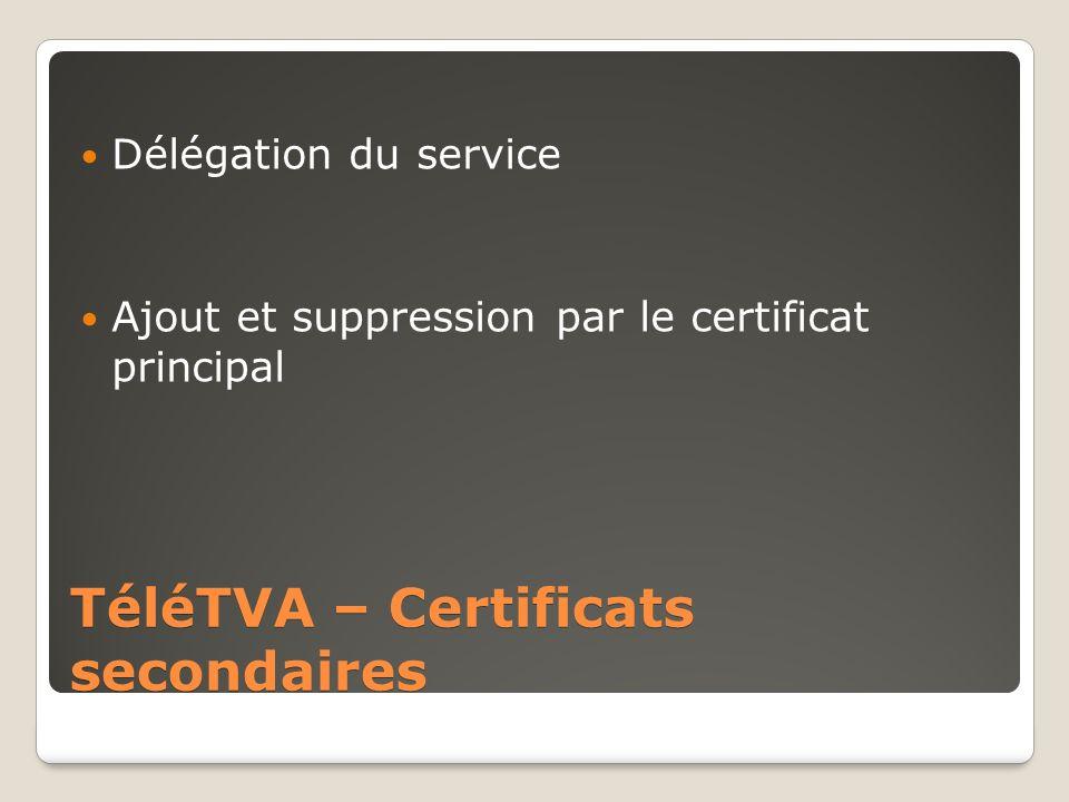 TéléTVA – Certificats secondaires