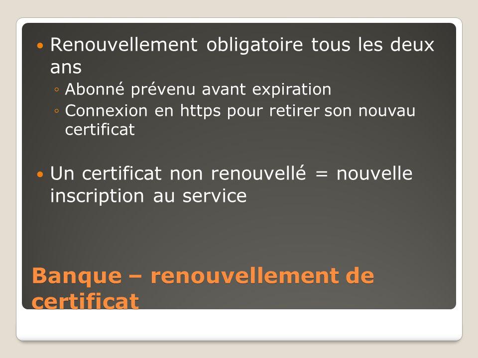 Banque – renouvellement de certificat