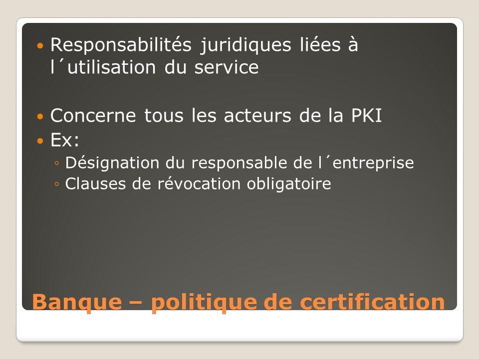 Banque – politique de certification
