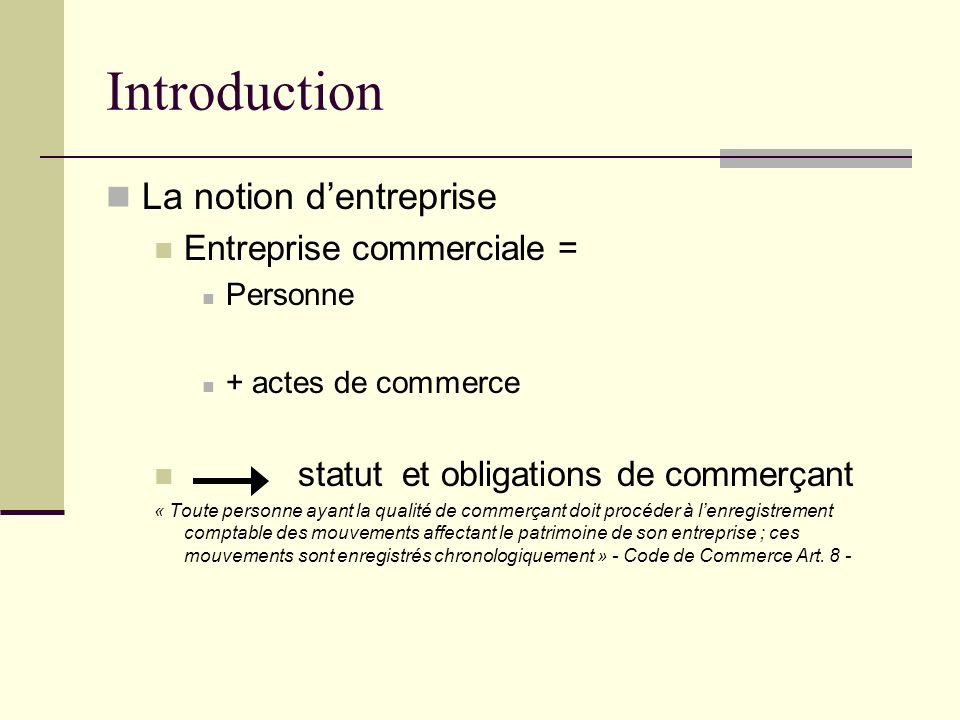 Introduction La notion d'entreprise Entreprise commerciale =