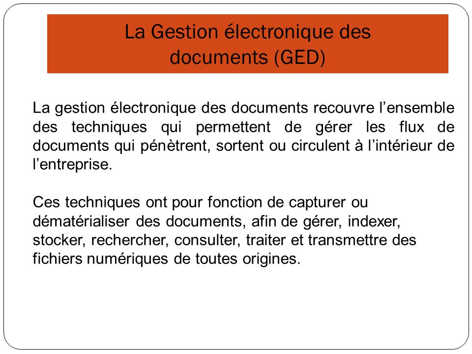 La Gestion électronique des documents (GED)