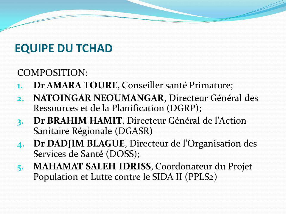 EQUIPE DU TCHAD COMPOSITION: