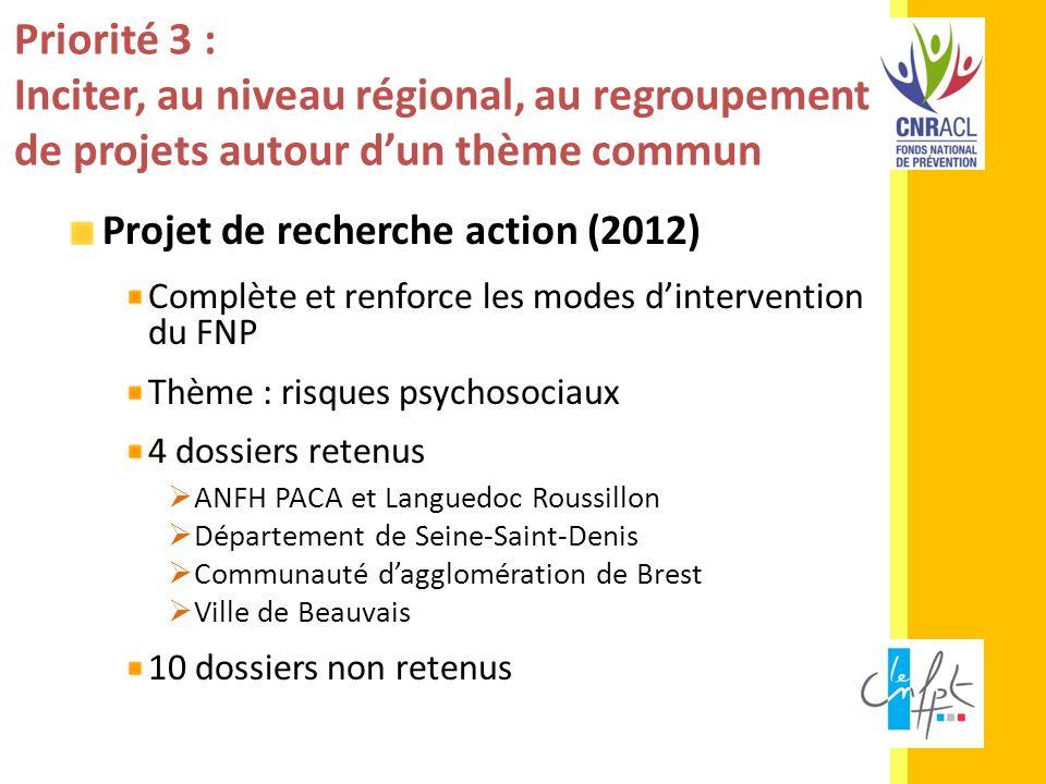 Priorité 3 : Inciter, au niveau régional, au regroupement de projets autour d'un thème commun