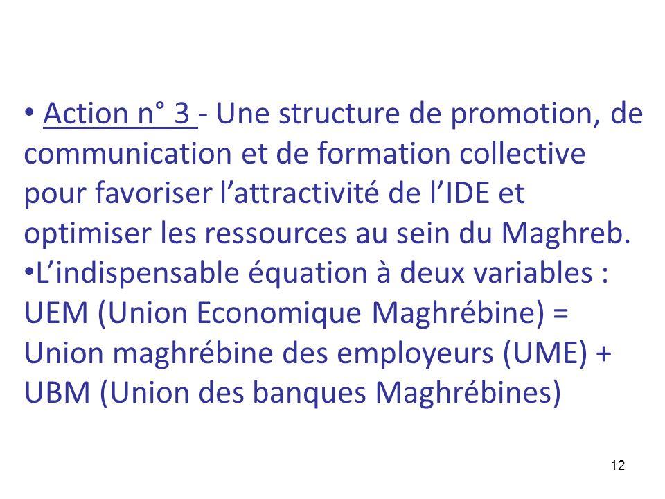 Action n° 3 - Une structure de promotion, de communication et de formation collective pour favoriser l'attractivité de l'IDE et optimiser les ressources au sein du Maghreb.
