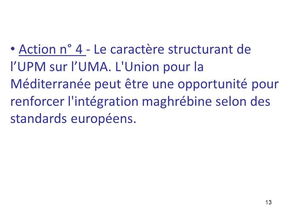 Action n° 4 - Le caractère structurant de l'UPM sur l'UMA