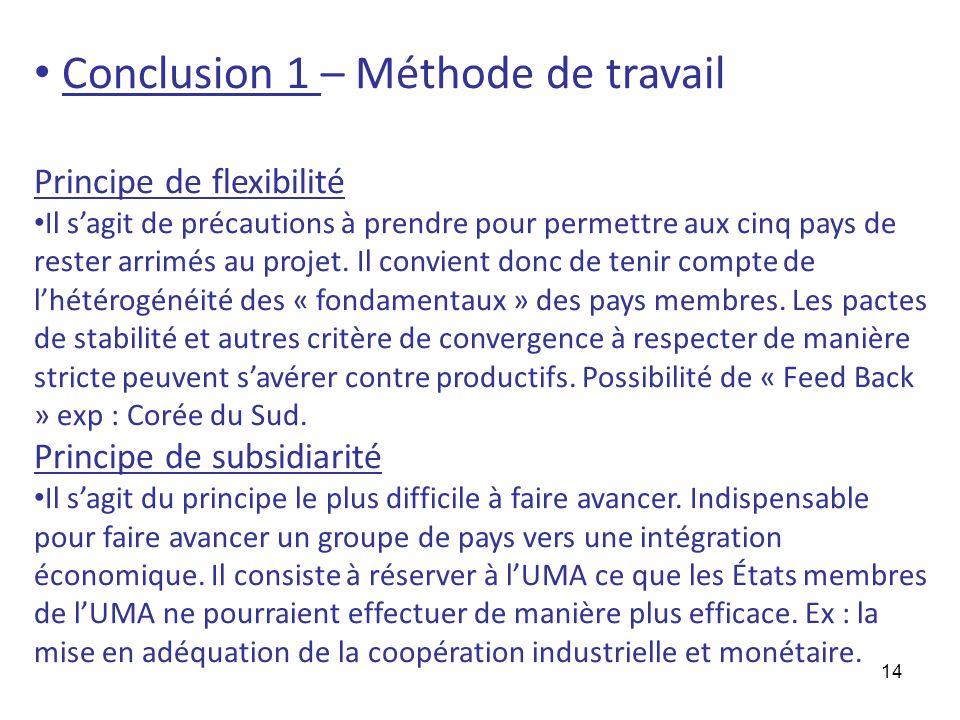 Conclusion 1 – Méthode de travail