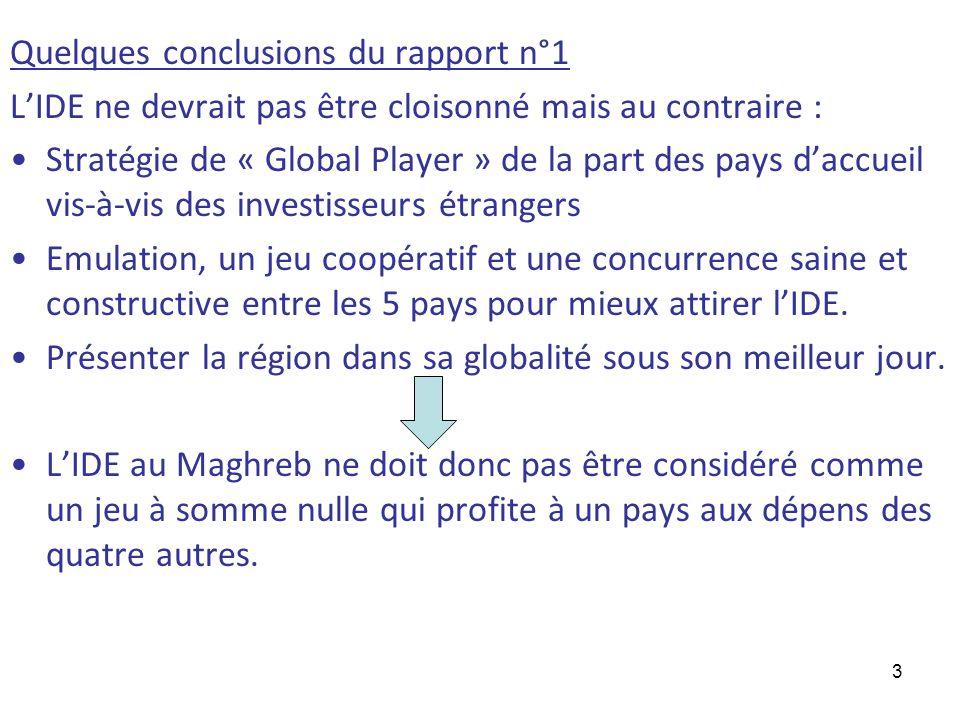 Quelques conclusions du rapport n°1