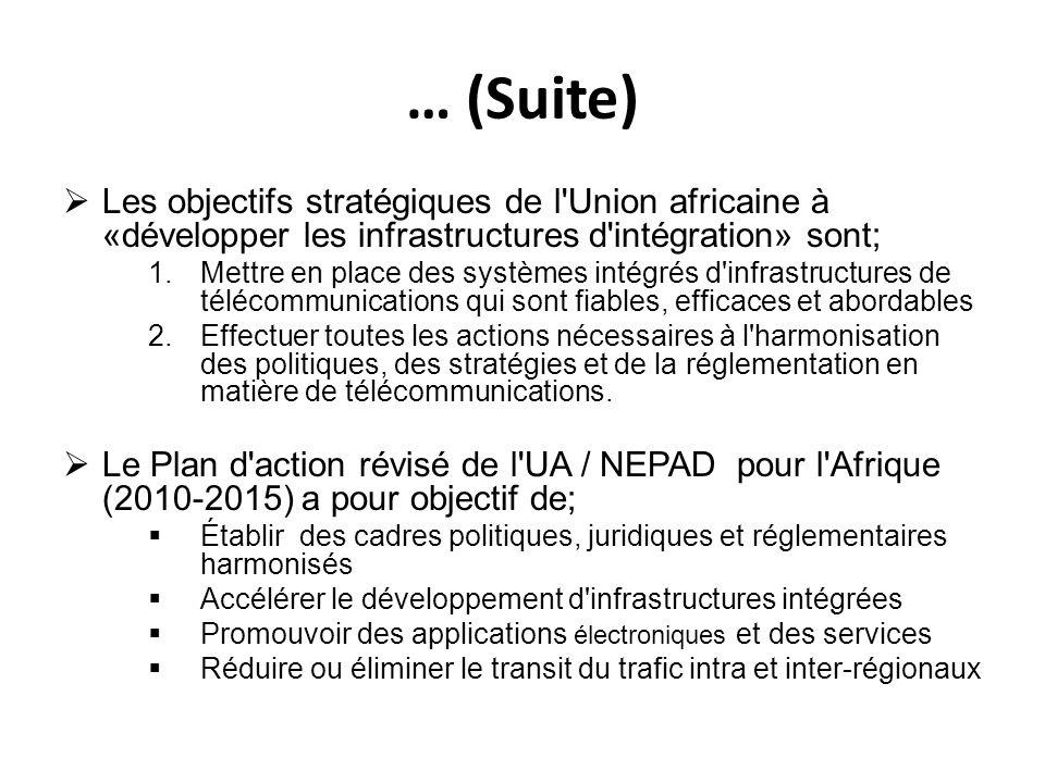 … (Suite) Les objectifs stratégiques de l Union africaine à «développer les infrastructures d intégration» sont;