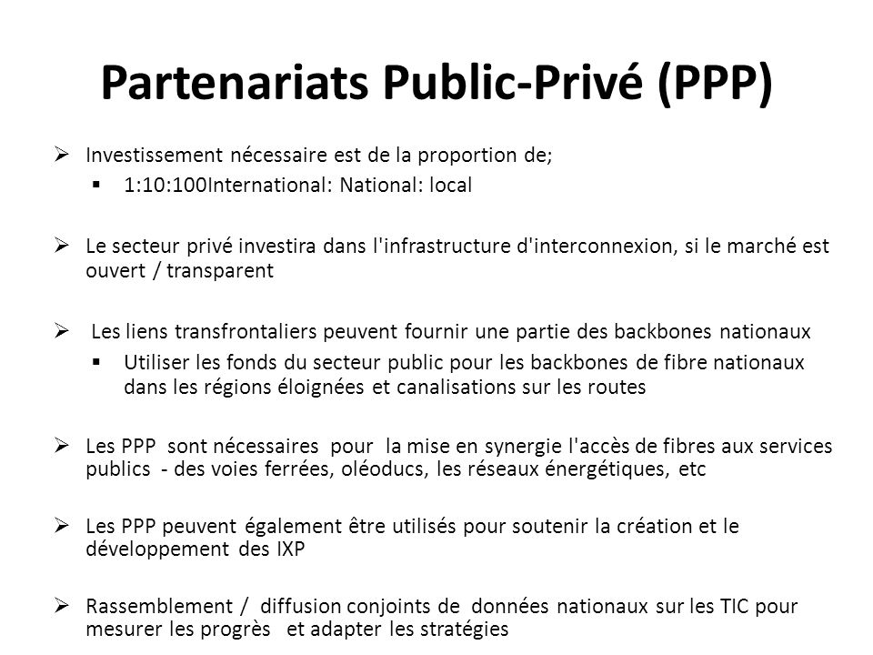 Partenariats Public-Privé (PPP)