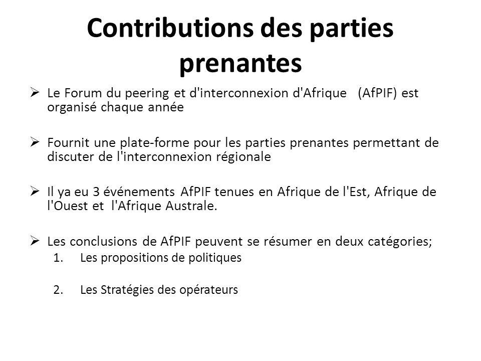 Contributions des parties prenantes