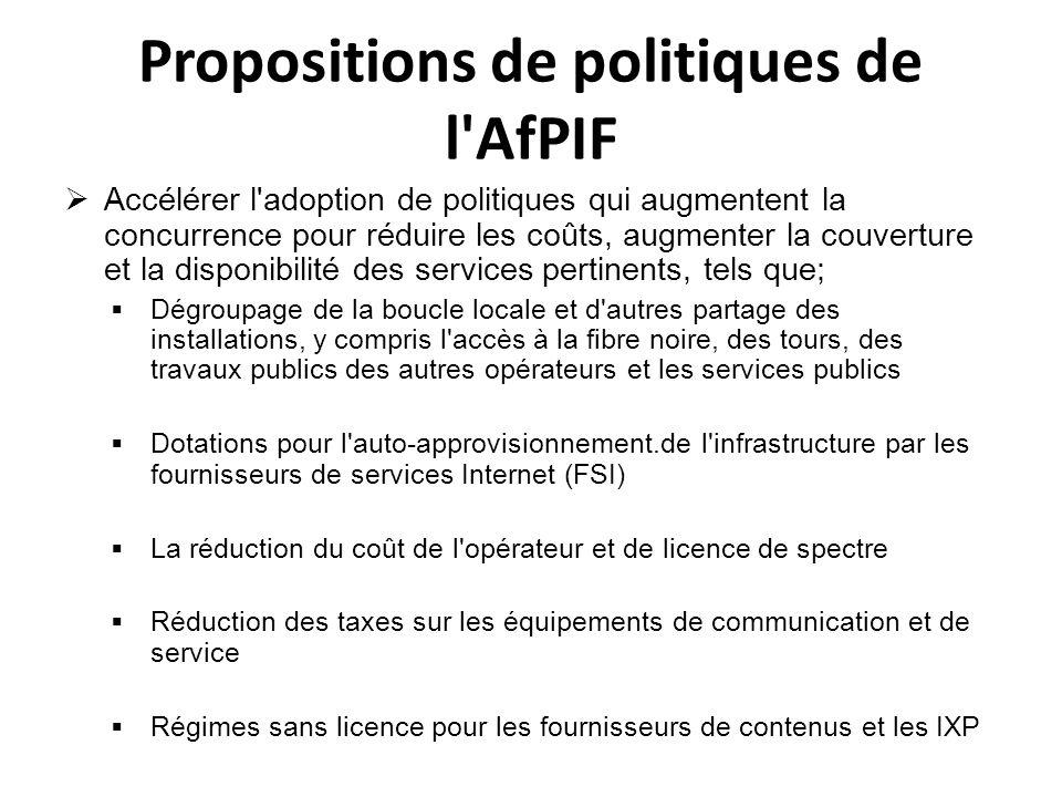 Propositions de politiques de l AfPIF