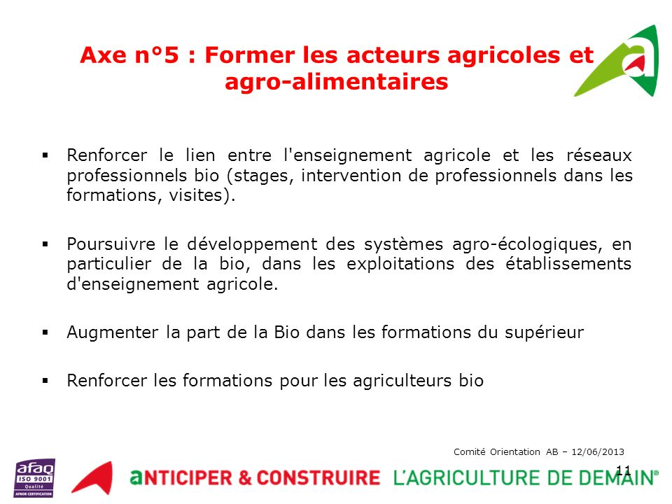 Axe n°5 : Former les acteurs agricoles et agro-alimentaires