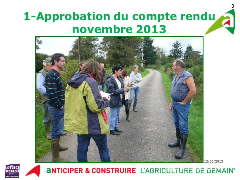 1-Approbation du compte rendu novembre 2013