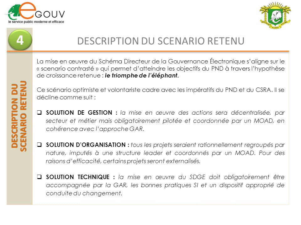 DESCRIPTION DU SCENARIO RETENU