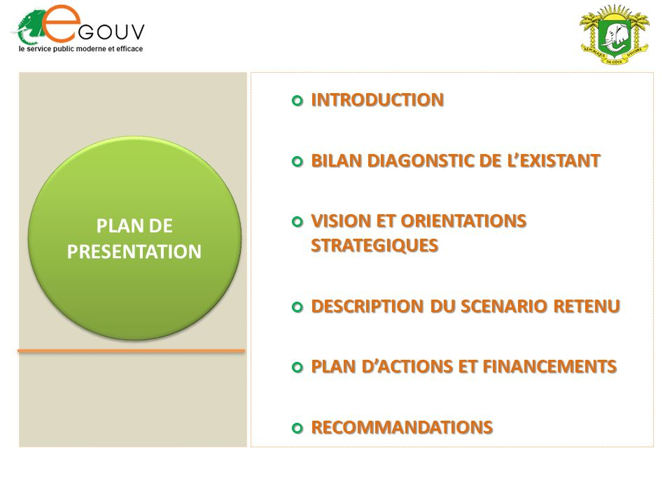 PLAN DE PRESENTATION INTRODUCTION BILAN DIAGONSTIC DE L'EXISTANT