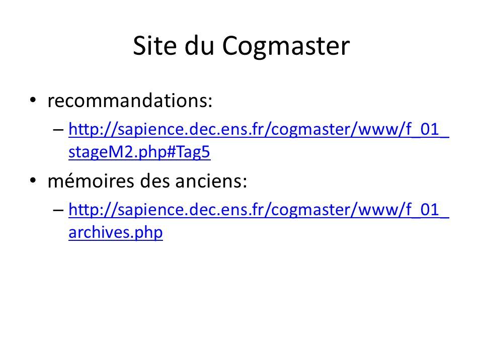 Site du Cogmaster recommandations: mémoires des anciens: