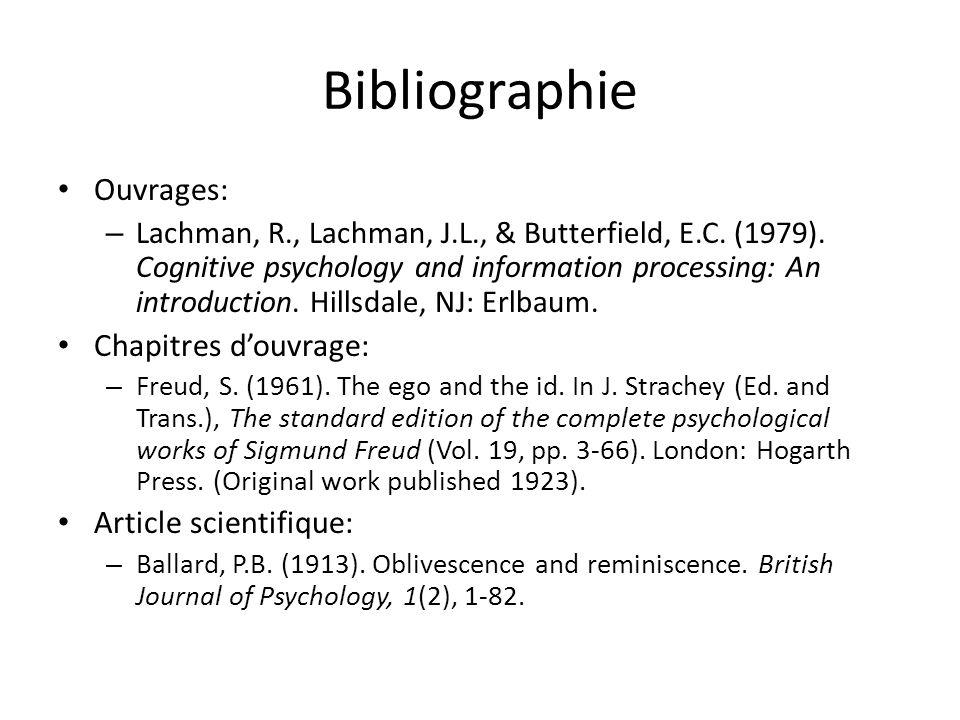 Bibliographie Ouvrages: Chapitres d'ouvrage: Article scientifique: