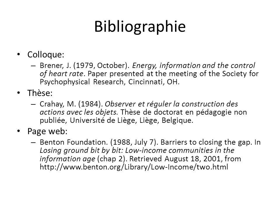 Bibliographie Colloque: Thèse: Page web: