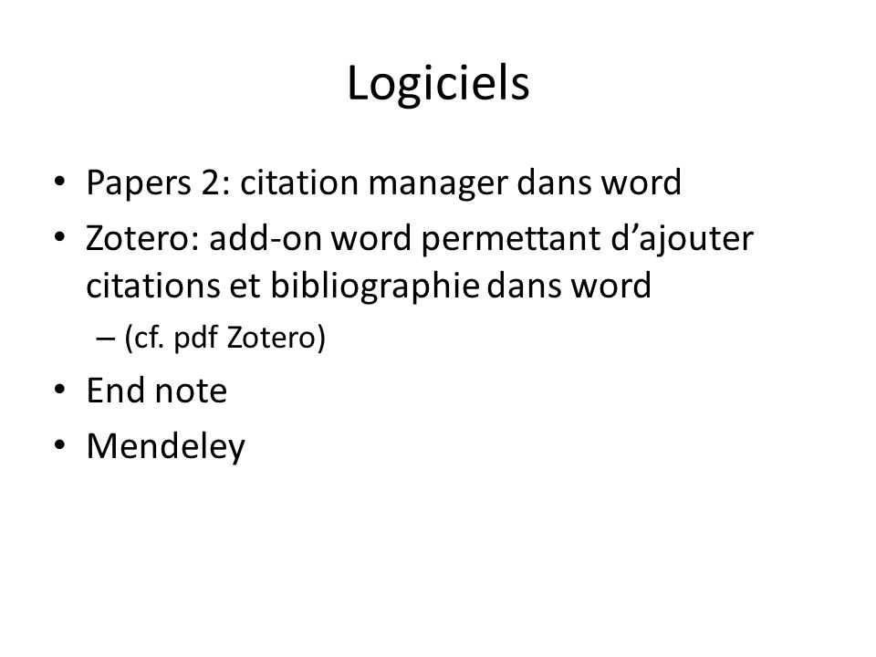 Logiciels Papers 2: citation manager dans word