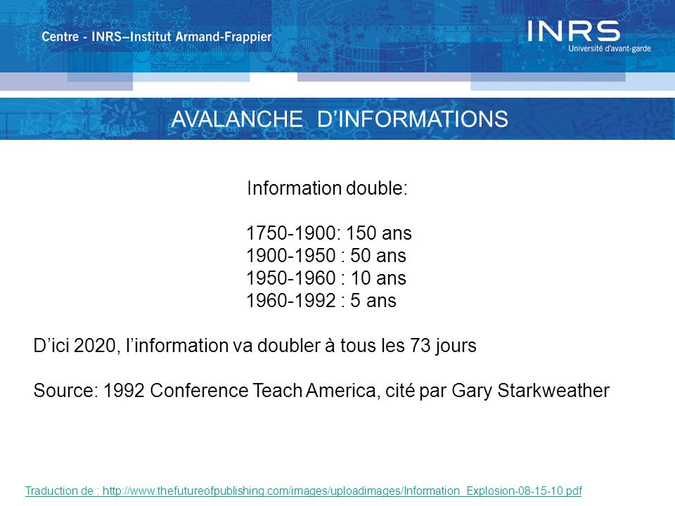 AVALANCHE D'INFORMATIONS