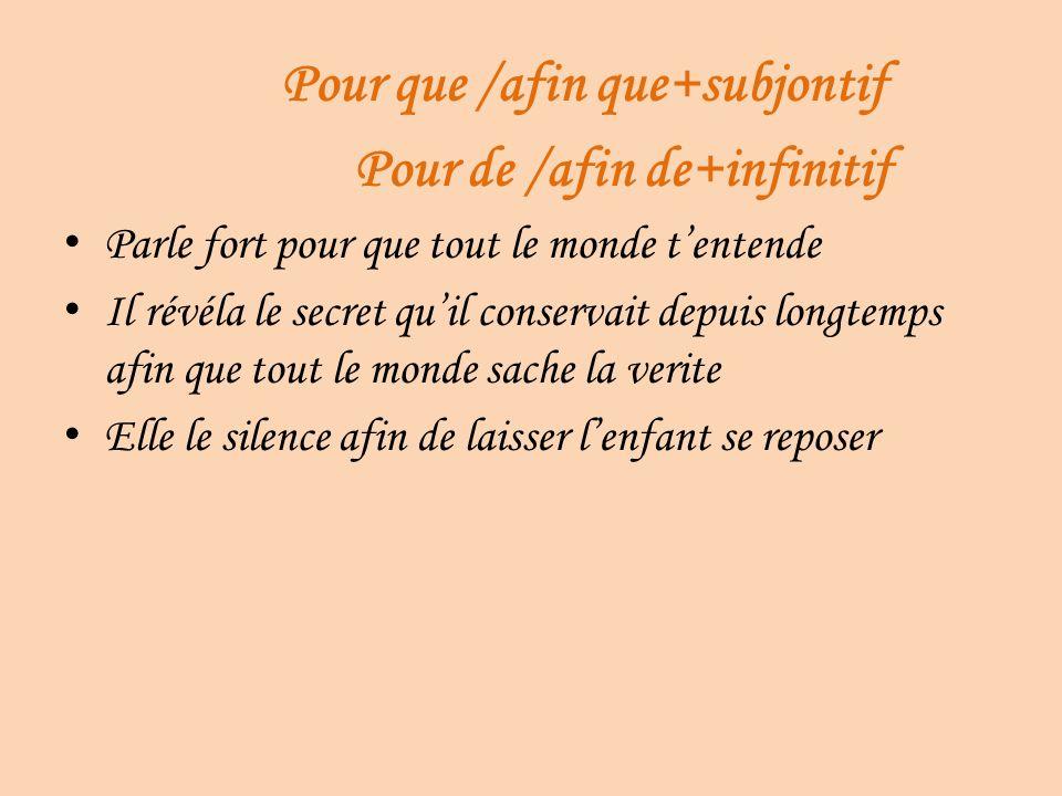 Pour que /afin que+subjontif Pour de /afin de+infinitif