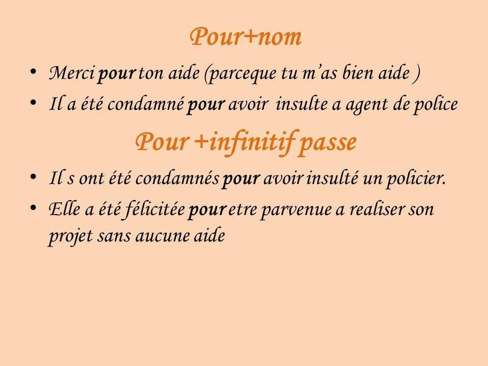 Pour+nom Pour +infinitif passe