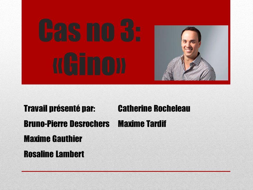 Cas no 3: «Gino» Travail présenté par: Catherine Rocheleau
