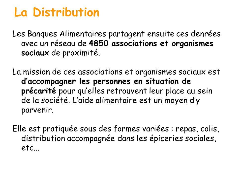 La Distribution Les Banques Alimentaires partagent ensuite ces denrées avec un réseau de 4850 associations et organismes sociaux de proximité.