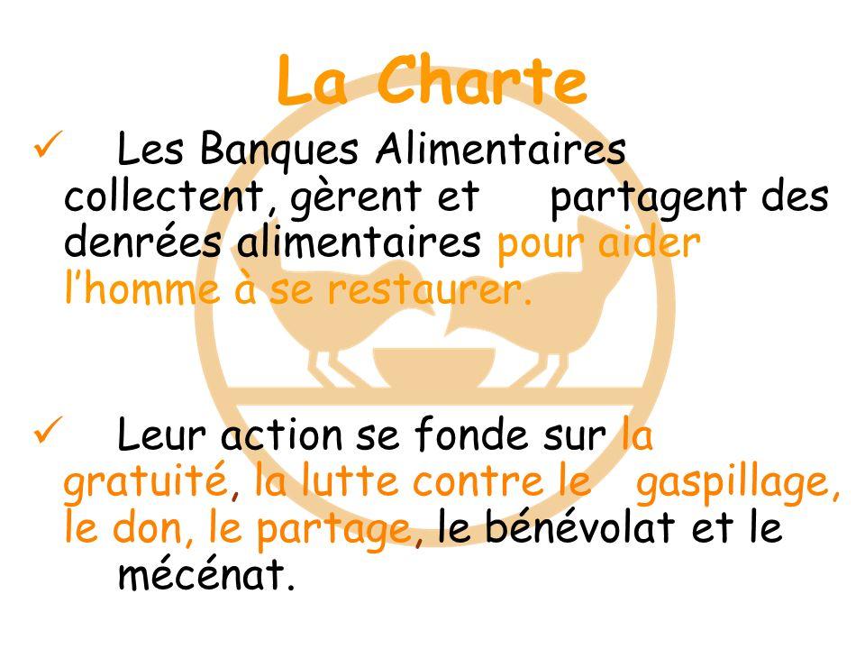 La Charte Les Banques Alimentaires collectent, gèrent et partagent des denrées alimentaires pour aider l'homme à se restaurer.