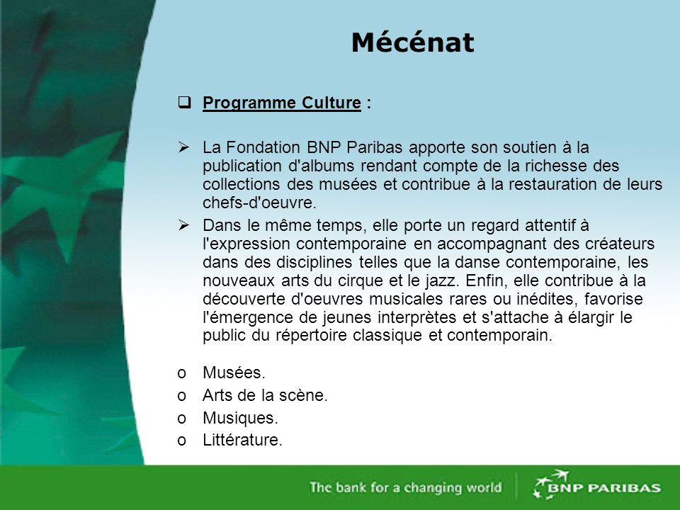 Mécénat Programme Culture :