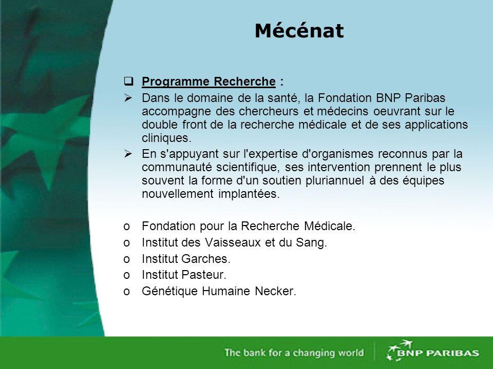 Mécénat Programme Recherche :