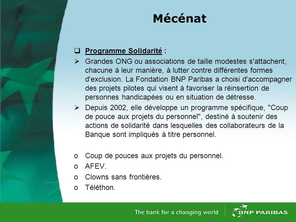 Mécénat Programme Solidarité :