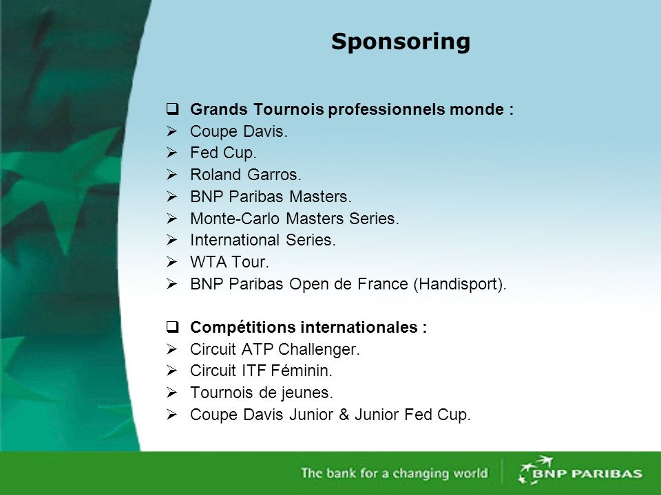Sponsoring Grands Tournois professionnels monde : Coupe Davis.