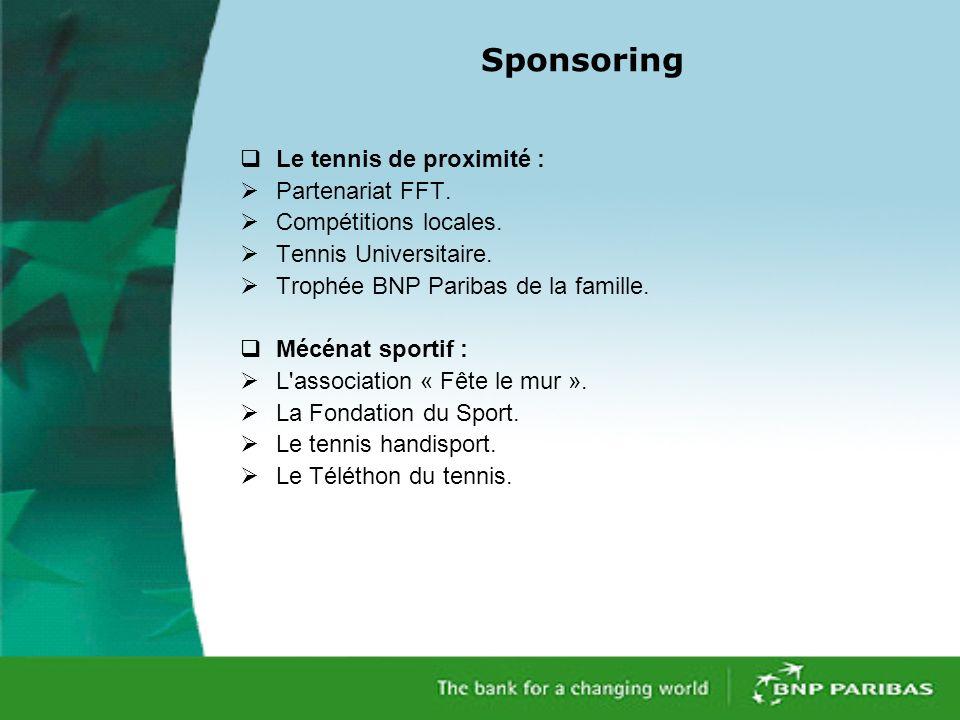 Sponsoring Le tennis de proximité : Partenariat FFT.