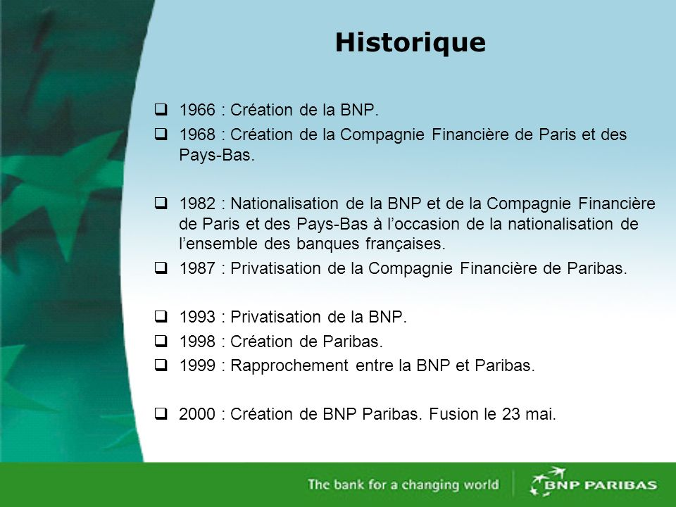 Historique 1966 : Création de la BNP.