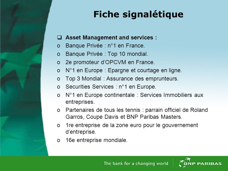 Fiche signalétique Asset Management and services :
