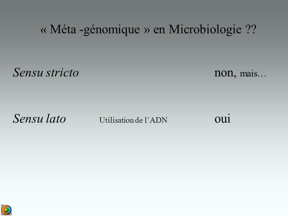 « Méta -génomique » en Microbiologie