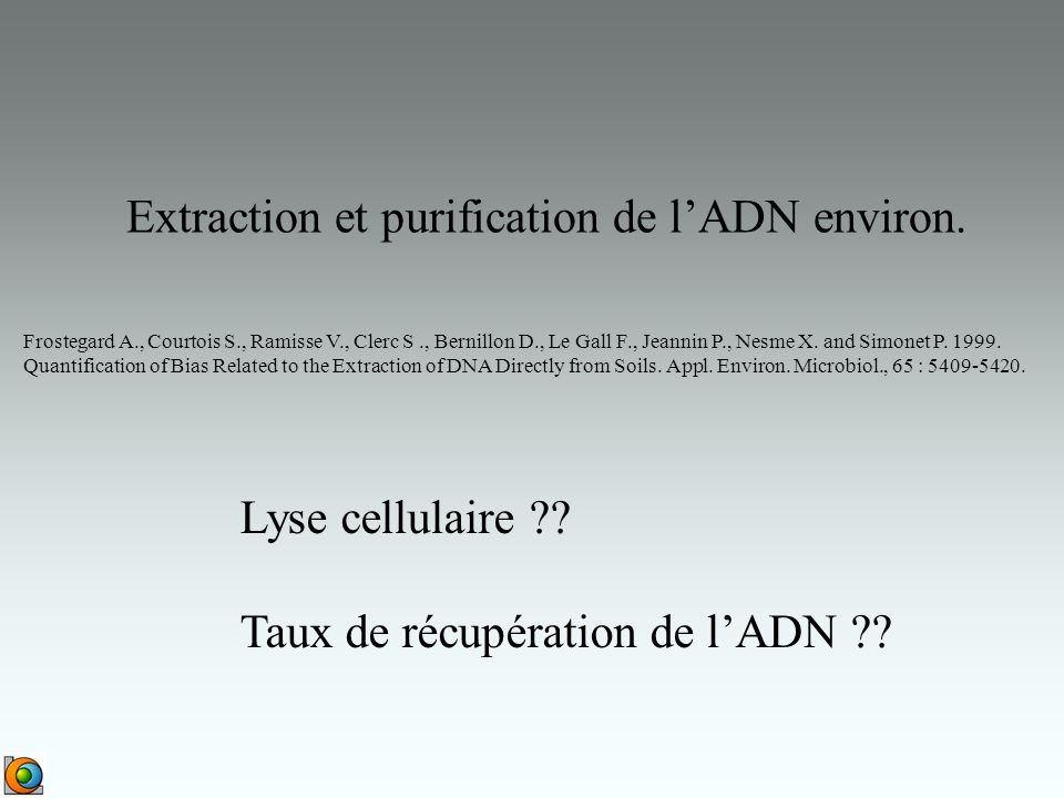 Extraction et purification de l'ADN environ.